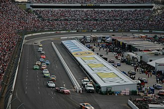 Oval track racing - Martinsville Speedway, a symmetrical oval, following a race.