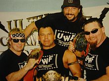 Bruce Hart, Marty Jannetty, Jim Neidhart, Chris Chavis en 1997.