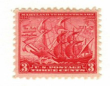 Small red three-cent stamp showing a sailing ship