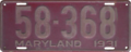 Maryland license plate, 1931.png