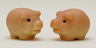 Marzipan - Marzipan moulded into marzipan pigs