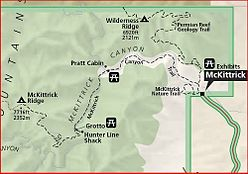 National Park Service relief map of McKittrick Canyon with trails