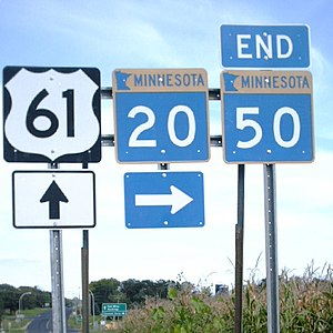Minnesota State Highway 20 - Signs at the north end of MN 20 near Miesville