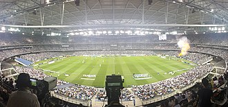 Docklands Stadium - Docklands Stadium in rectangular configuration during an A-League Melbourne Derby in December 2014.