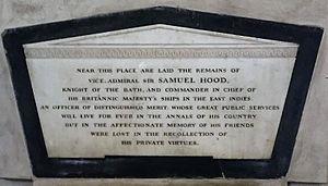 Sir Samuel Hood, 1st Baronet - Memorial Sir. Samuel Hood, St. Mary's Church, Madras
