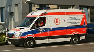 Emergency medical services in Poland - Mercedes-Benz resuscitation ambulance (Type R) used by Polish emergency services