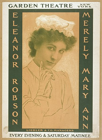 Garden Theatre - Poster for Israel Zangwill's Merely Mary Ann starring  Eleanor Robson (1903)
