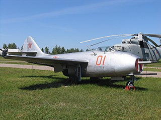 Mikoyan-Gurevich MiG-9 Fighter aircraft family; first jet-powered MiG