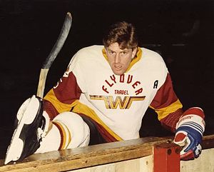 Mike Babcock - Mike Babcock playing in the United Kingdom in 1987 as a player-coach for Whitley Warriors.