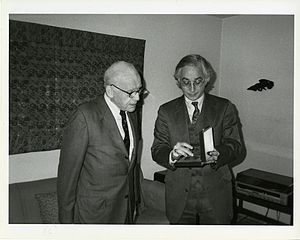 Alexander Soper - Alexander Soper (left) receiving the Charles Lang Freer Medal from Milo C. Beach, Director of the Freer Gallery of Art, 1990.