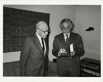 Alexander Soper - Alexander Soper (left) receiving the Charles Lang Freer Medal from Milo C. Beach, Director of the Freer Gallery of Art, 1990.