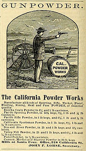 advertisement, with a woodcut of a man firing a pistol, with a barrel of gunpowder and a cannon in the background