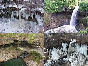 Minnehaha Creek - Minnehaha Creek as it flows over Minnehaha Falls, shown in all four seasons.