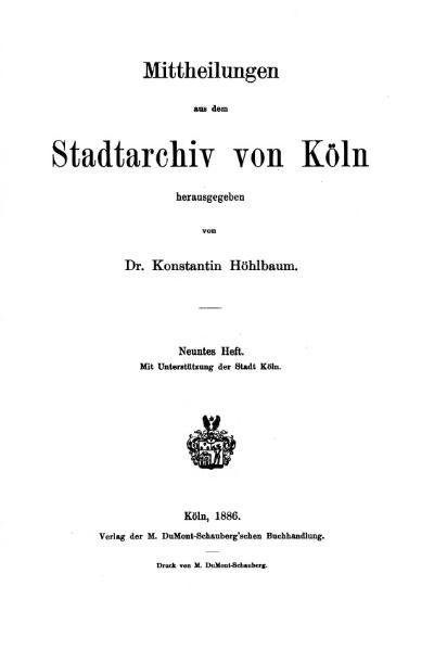 File:Mitteilungen aus dem Stadtarchiv von Köln 1886-9.djvu