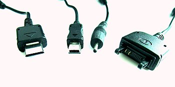 English: Charger connectors of different mobil...