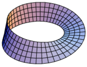 Torus - The configuration space of 2 not necessarily distinct points on the circle is the orbifold quotient of the 2-torus, T2/S2, which is the Möbius strip.