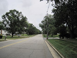 Monmouth Heights at Manalapan, New Jersey - Looking east along Taylors Mills Road