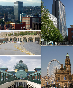 時計回りに上から、シェフィールド大学、St Pauls Tower, Wheel of Sheffield及びSheffield Town Hall, Meadowhall Centre, Sheffield station及びSheaf Square.