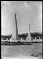 Monument to the advent of Christianity which replaced the Jubilee Pole in 1927, and the Te Rauparaha Monument, at Otaki ATLIB 311393.png