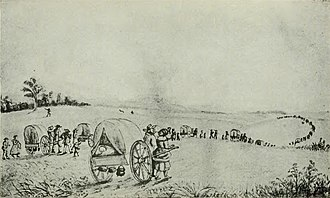 Mormon handcart pioneers - Mormon handcart train in Iowa, 1903 illustration