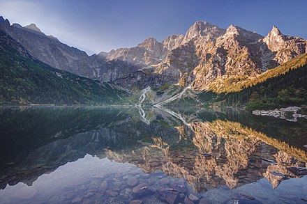Morskie Oko at the foothill of Tatra Mountains in southern Poland which average 2,000 metres (6,600 ft) in elevation Morskie Oko o poranku.jpg