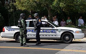 Police in Blacksburg, VA responding to a repor...