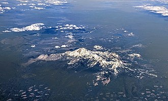 Lassen Peak - Aerial view of Mount Lassen with snow, early May 2018