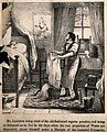 Mr. Lambkin in bed undergoing hydrotherapy with a follower o Wellcome V0011252EL.jpg