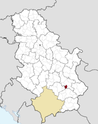 Location of the municipality of Doljevac within Serbia