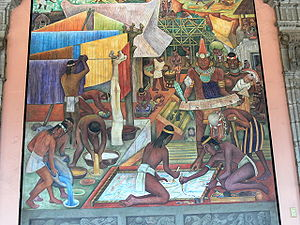 Textiles of Mexico - Diego Rivera mural depicting the making of textiles in the pre-Hispanic period