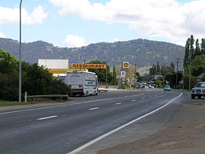 Murrurundi - The New England Highway at Murrurundi, with the Liverpool Range in the background.