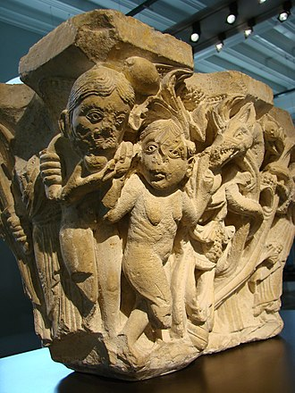 Corbie Abbey - Adam and Eve on a late 12th century capital from the abbey (Musée de Picardie, Amiens)