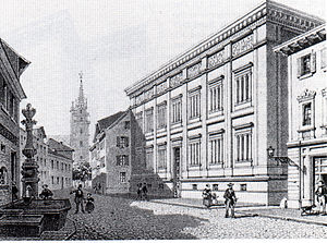 Museums in Basel - The Museum on Augustinergasse in Basel, view toward Cathedral Square, 19th century