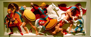 Immortals (Achaemenid Empire) - Colored reconstruction of relief on the Alexander Sarcophagus depicting Immortals fighting Alexander's troops.