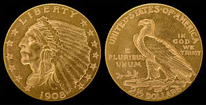 Bela Pratt - 1908 Quarter eagle Indian Head design
