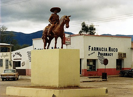 An intersection near the border crossing, 1990 Naco, Sonora, Mexico 1990.jpg