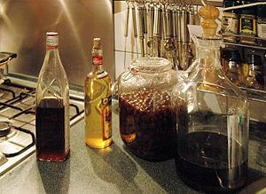 Nalewka - A variety of nalewkas in various stages of preparation