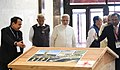 Narendra Modi visiting the Museum, Exhibition and the Viewers' Gallery, during the dedication of the 'Statue of Unity' to the Nation, on the occasion of the Rashtriya Ekta Diwas, at Kevadiya, in Narmada District of Gujarat (2).JPG