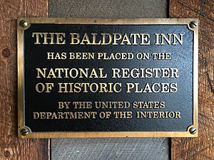 The Baldpate Inn - National Register of Historic Places, metal plaque