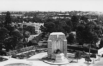 National War Memorial (South Australia) - The National War Memorial, circa 1940, showing its location in relation to Government House (visible to the left of the memorial).