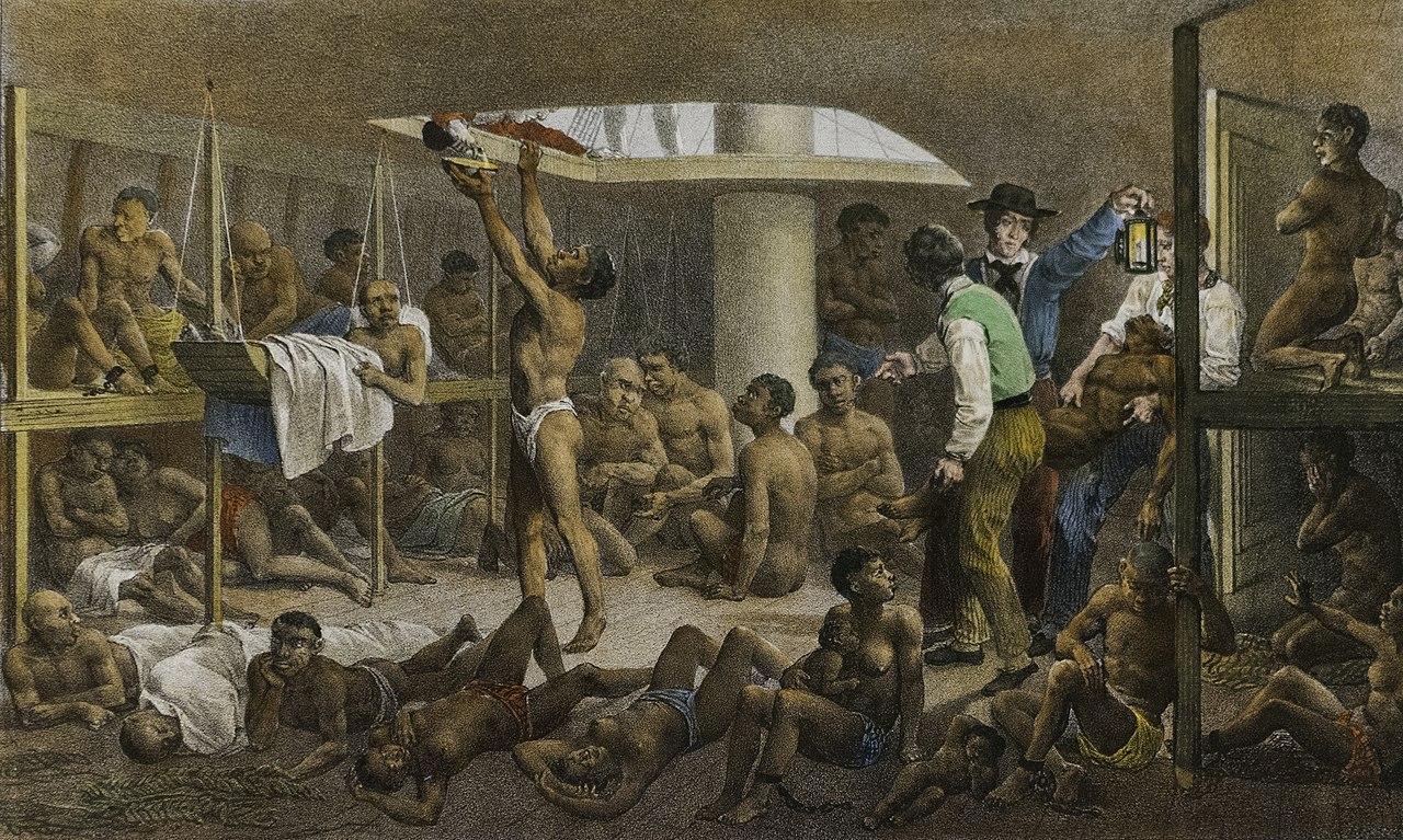 Mauricio Rugendas: Imagen representando el interior de un barco de esclavos.