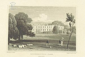Dogmersfield - Engraving of Dogmersfield Park, after drawing by Neale (1818)