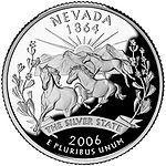 Cara de Nevada de una moneda de 25 centavos de dólar.