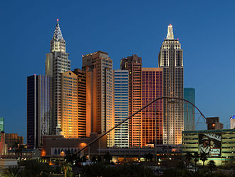 New York-New York Hotel and Casino - Rear view at night