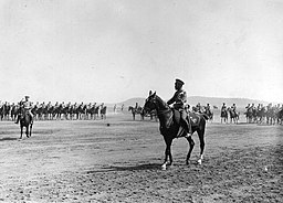 Nicholas II of Russia on horseback during a manoeuvre