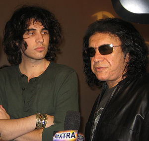 Nick Simmons - Nick Simmons (left) with his father, Gene Simmons, at San Diego Hard Rock Hotel, 2009