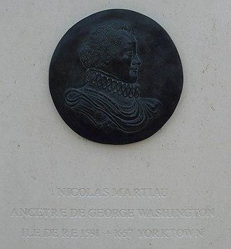 Nicolas Martiau - Medallion representing Nicolas Martiau.