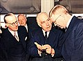 Niels Bohr and King Gustaf VI Adolf at the inauguration of the Department of Physics in 1951.jpg