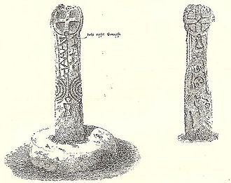Crowan - This cross once stood at the north of Nine Maidens Downs and marked the boundary between Camborne, Crowan, Wendron and Illogan parishes. It now stands in the grounds of Clowance House. The crossroads was known as Binnerton Cross; the head has a Greek cross on one side and a crude figure of Christ on the other.