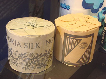 Rolls of toilet paper produced by Nokia in the 1960s, Museum Centre Vapriikki, Tampere Nokia Toilet paper.JPG